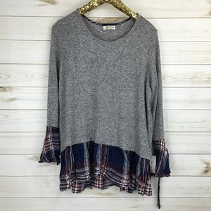 NWT Style & co Grey Sweater with Ruffle SIze 0X